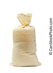 sack - The full fastened bag is isolated on a white...