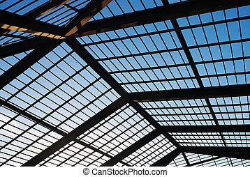 roof structure - the roof structure of building against a...