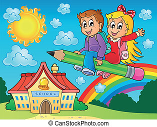 School kids theme image 7 - eps10 vector illustration.