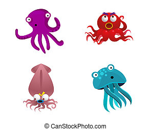 Octopus and cute sea animals vector