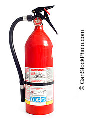 Fire Extinguisher - A red fire extinguisher on a white...