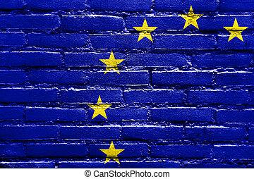 European Union Flag painted on brick wall