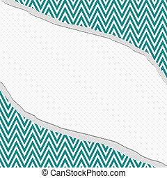 Teal and White Chevron Zigzag Frame with Torn Background -...