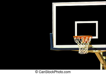 Basketball Goal on Black - A glass basketball goal on a...