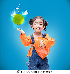 Smile Asian Engineer baby girl with small green globe