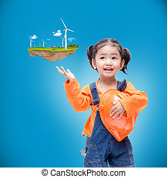 Smile Asian Engineer baby girl  with small floating island