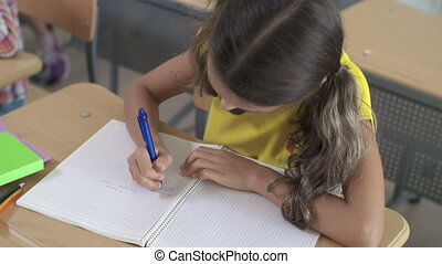 Knowledge Check - Close up of girl doing sums in her...