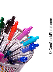 Pen Holder - a background of desk top pen holder full of...