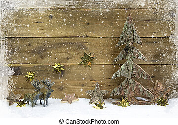 Wooden country style christmas background with reindeer and...