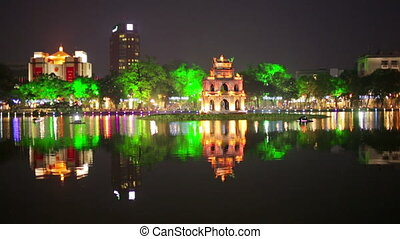 Hoan Kiem Lake and Huc Bridge, Hanoi, Vietnam