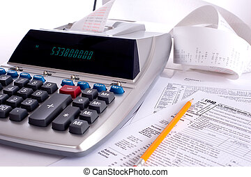 Adding Machine with tax forms - An adding machine or...