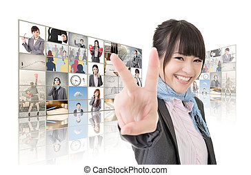 victory sign - Confident Asian business woman give you a...