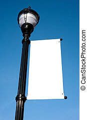 Blank Sign on Lamp-post - A blank white sign on a lamp-post...