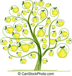 Pear tree for your design. Vector illustration