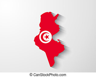 Tunisia map with shadow effect
