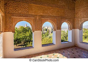 Alhambra Moorish Wall Designs City View Granada Andalusia...