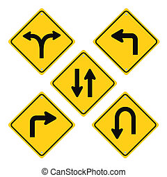 Road Signs Set Yellow Vector