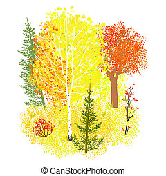 Vector background with autumn forest, illustration of a...