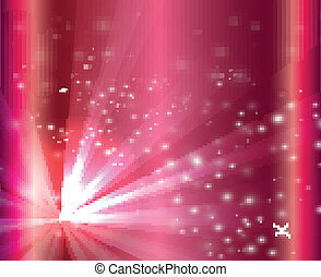 A pink color design with a burst and rays