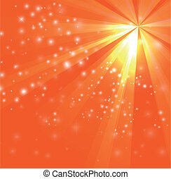 A orange color design with a burst and rays