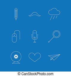 Vector outline icons for blog