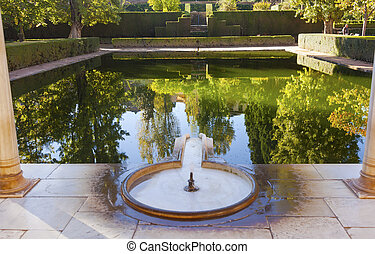 Alhambra Courtyard El Partal Fountain Pool Reflection...