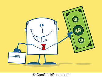 Businessman Holding A Dollar Bill