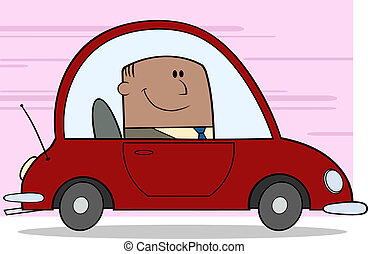 African American Businessman Driving Car To Work Cartoon...