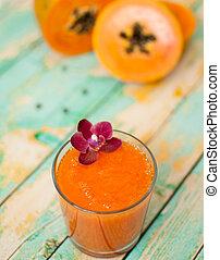 papaya smoothie - healthy fresh papaya smootie juice on...