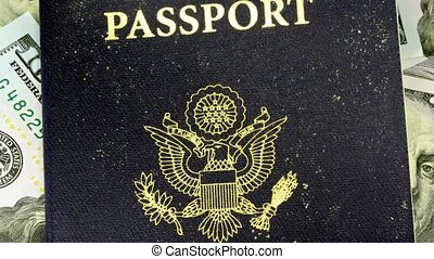 Passport with hundred dollar bills - Travel Documents - USA...