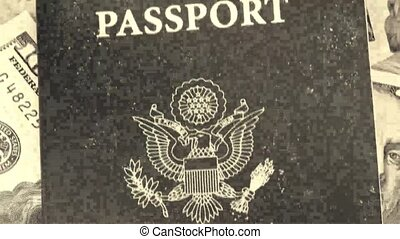 Old film passport with US currency - Travel Documents - USA...