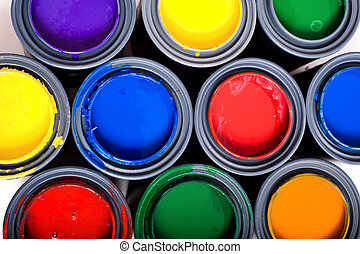 Cans of Paint - Colorful cans of paint on a white background...