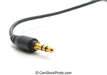 Gold plated earphone jack with white background
