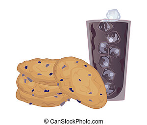 oatmeal and raisin cookies - an illustration of a stack of...