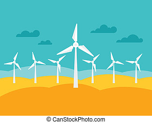 Illustration of wind energy power plant in flat style