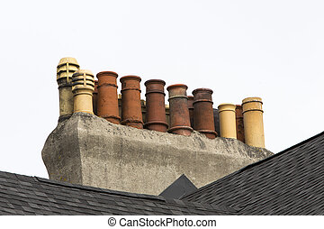row house chimneys, St Johns - row house chimneys, old St...