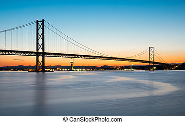 The Forth road bridge after sunset - The Forth road bridge...