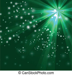 Green color design with a burst and rays