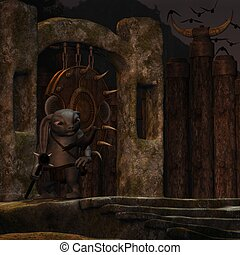 Medieval background with figure - 3d render of a medieval...
