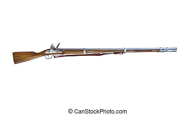old rifle - old musket gun. the beginning of the 18th...