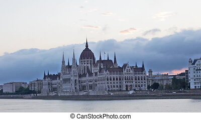 parliament building in Budapest early in the morning before...