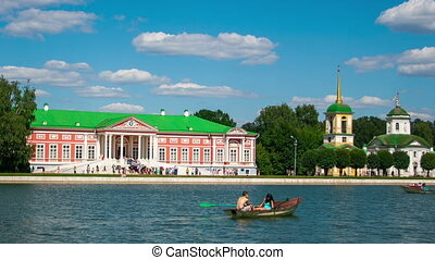RUSSIA, MOSCOW - JULY 23, 2014: Vacationers go boating about...