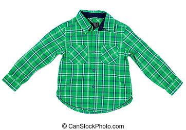 Childrens plaid shirt - Childrens green plaid shirt Isolated...