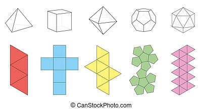 Platonic Solids Figures Nets - Five platonic solids,...