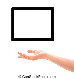 Hand and screen. Isolated