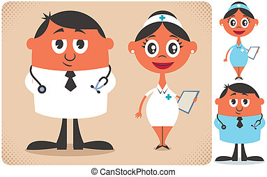 Doctor and Nurse - Illustration of cartoon doctor and nurse...