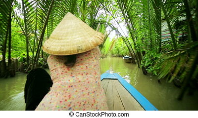 Rower Paddle Canoe at Majestic Gorgeous Mekong River,...