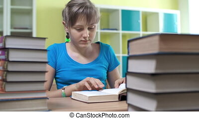 Preparing for Exams - Close up of girl studying books