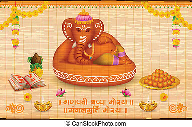 Lord Ganesha made of clay Ganesh Chaturthi - illustration of...