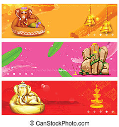 Banner for Ganesh Chaturthi - illustration of banner for...
